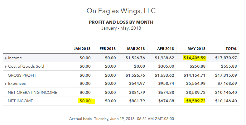 collapsed profit and loss by month quickbooks online