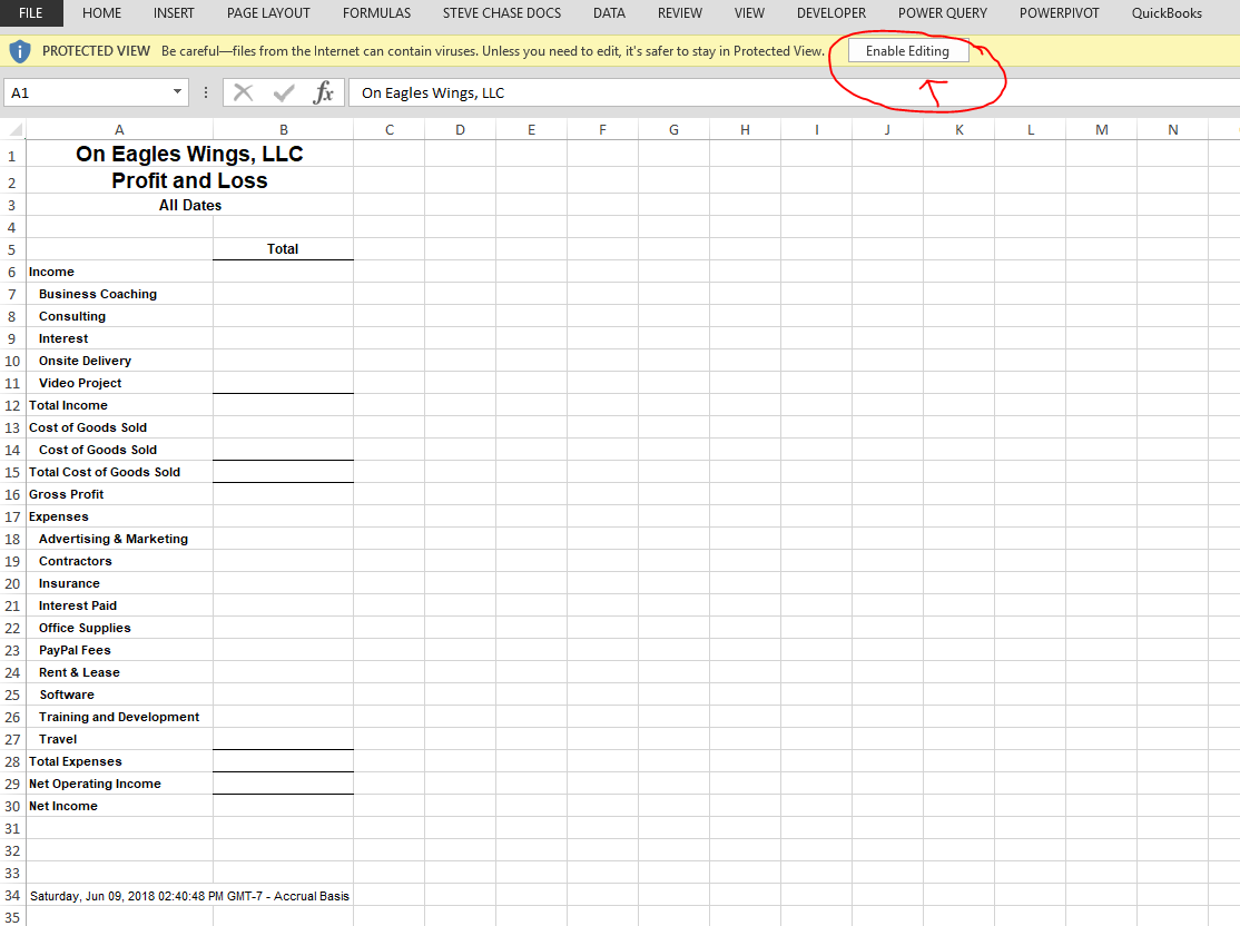 enable editing excel