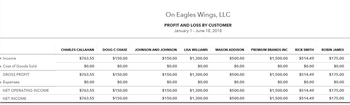 profit and loss by customer