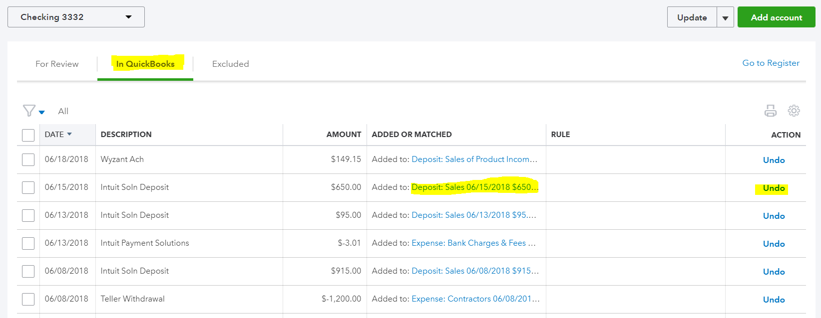 How to undo a mistake in the bank feeds in QuickBooks Online